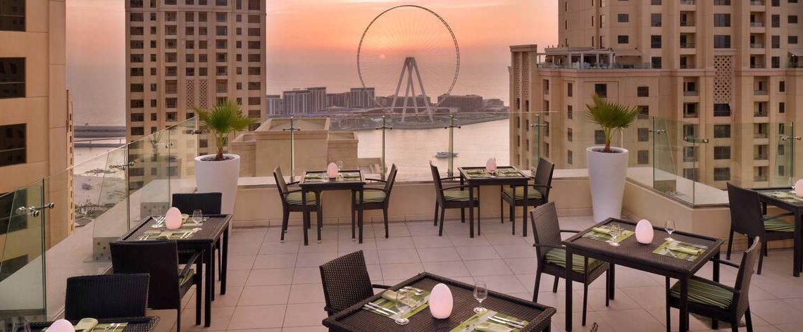 Rooftop Lounge with Marina View